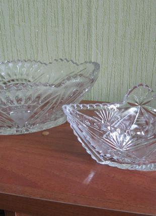 2 хрустальные салатницы