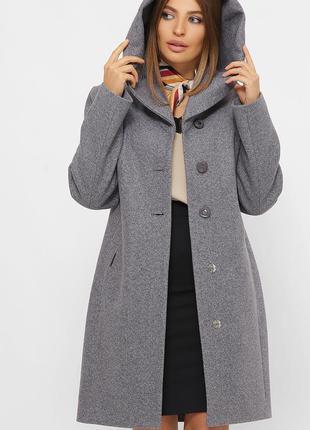 Зимнее шерстяное пальто с капюшоном