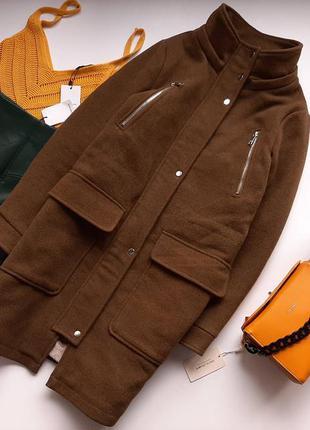 Пальто зимове тепле кольору хакі pull&bear