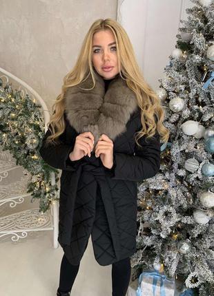 Пальто зимнее мех песец чернобурка енот