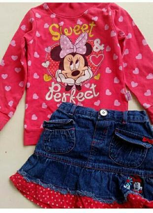 Комплект минни маус, джинсовая юбка и кофта микки маус, дисней...