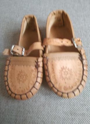 Тапочки,туфли, в украинском стиле под вышиванку 14 см. натурал...
