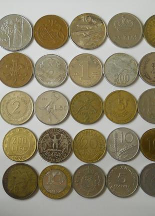 Монеты мира 100 штук-Европа,Азия,Африка,Северная и Южная Америка
