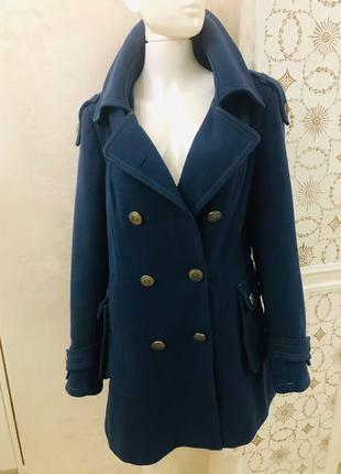 Зимнее тёплое двубортное шерстяное пальто бушлат