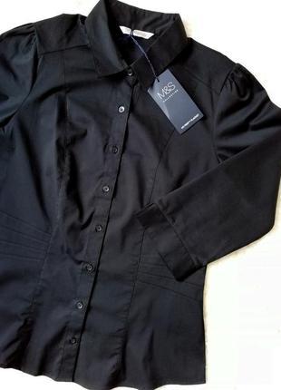 Распродажа! базовая приталенная черная рубашка с с силуэтными ...
