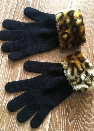 Перчатки с искусственным мехом леопард