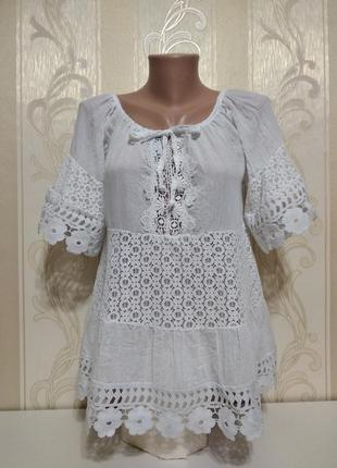 Белая  кружевная блуза для беременных, италия