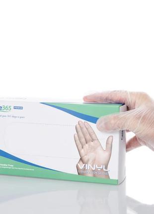 Перчатки виниловые Care365 без пудры размер XL (100 шт/уп)