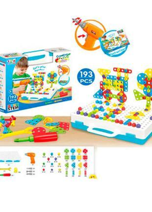 Мозаика конструктор с шуруповертом Creative Puzzle 193 детали TLH