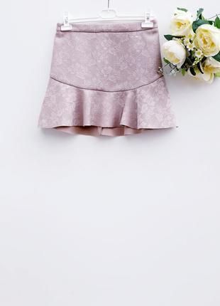 Красивая юбка нюдовая юбка с воланом