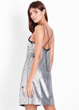 Платье двусторонние пайетки черно-серебристые
