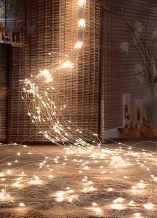 """Гирлянда""""Конский хвост"""" 200 LED: 10 линий по 2 м, 20 диодов/леска"""