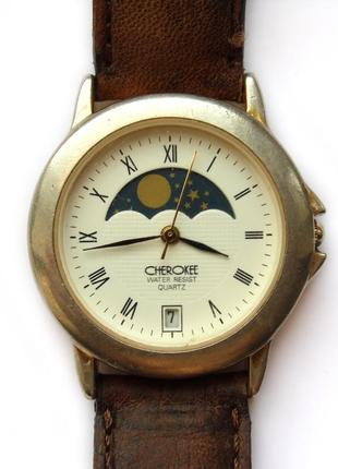 Cherokee часы лунный календарь дата кожа механизм japan miyota