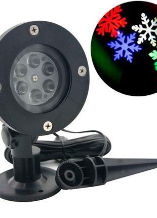 Лазерный проектор новогодний уличный снежинки RGBW LED WL-602