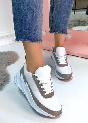Кроссовки в стиле sharks,белые кроссовки с серыми вставками на...