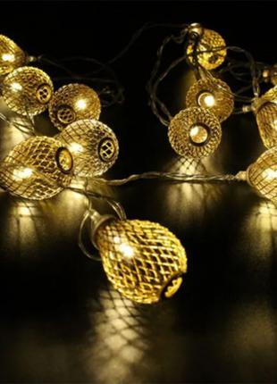 Гирлянда новогодняя Xmas Золотые Шарики 20 шт WW Теплый белый