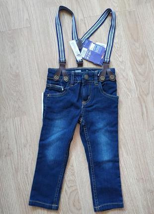 Зауженные джинсы с подтяжками lupilu германия на мальчика 1-2 ...