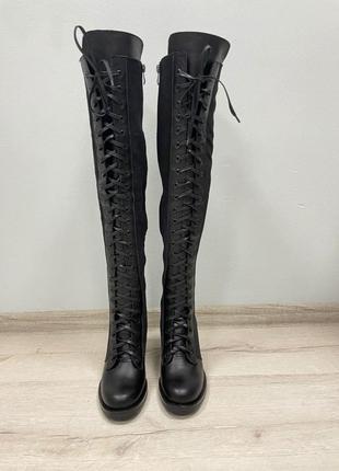 Ботфорты высокие сапоги на шнуровке кожа замш удобный каблук