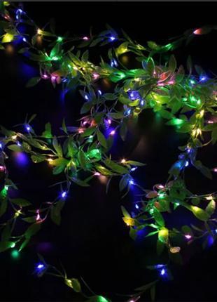 Гирлянда новогодняя Xmas Листья Ивы 3 х 1 м Мультицветная  Теплый