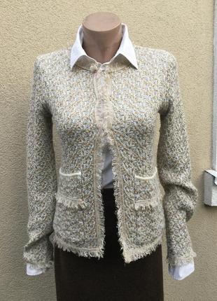 Трикотаж,жакет,пиджак,кардиган букле,бахрома,стиль шанель,люре...