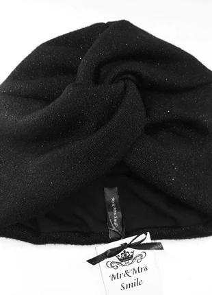 Чалма-шапка. королевская ангора-люрекс в черном цвете