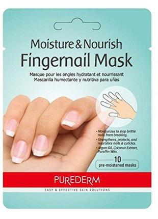 Увлажняющая маска для ногтей purederm moisture & nourish finge...