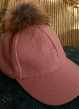 Утепленная кепка с помпоном на девочку 6-8 лет