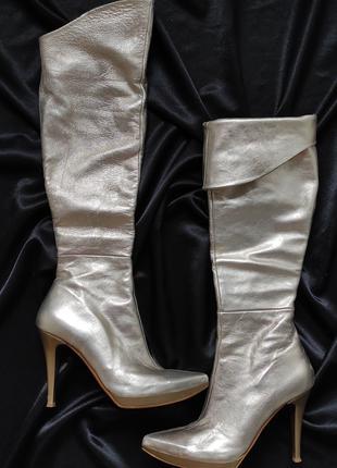 37-38 сапоги Marco Delli золотые ботфорты каблук косплей кожа