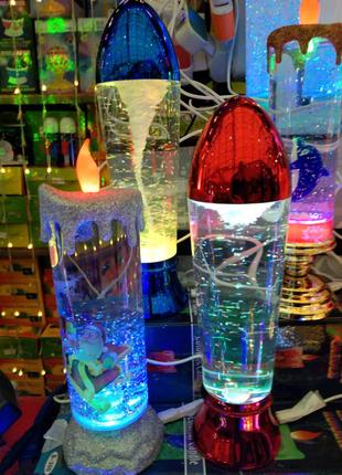 Лава лампа Светильник торнадо, новогодняя свеча с блёстками