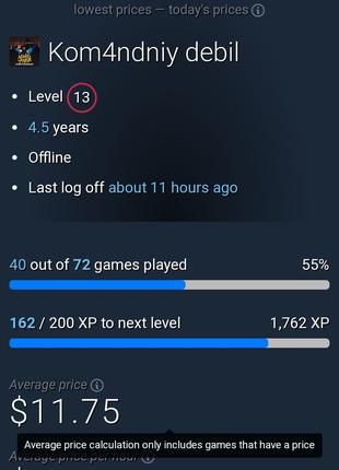 Ігровий акаунт steam ! Знижка