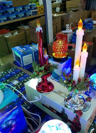 """Декоративное новогоднее украшение ночник """"Три свечи"""""""