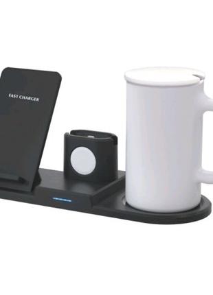 Подставка для подогрева кружек и зарядное беспроводное Mug 4 in 1