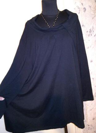 Натуральная-стрейч,трикотажная,оригинальная,блузка-туника,боль...
