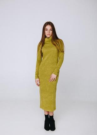 Длинное платье season ангора цвета киви