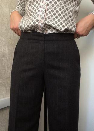 Серые шерстяные брюки в полоску/клеш от бедра/широкие брюки