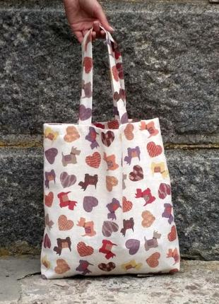 Эко-сумка / шоппер ручной работы «сердечки»