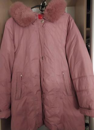 Пуховик куртка 52-54 мех розовый