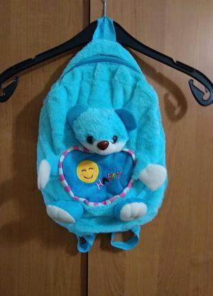 Меховой рюкзачок с игрушкой рюкзак