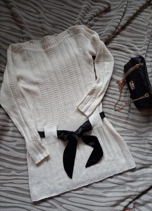 Теплое вязаное белое платье, туника