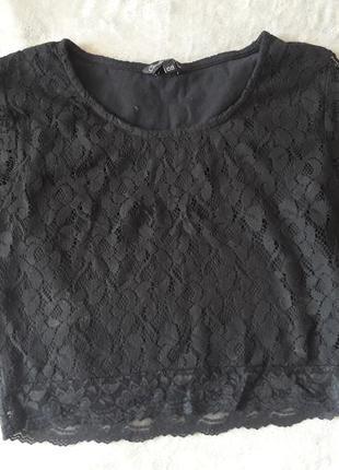 Топ футболка черная с кружевом