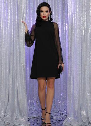 Чёрное платье осень-зима