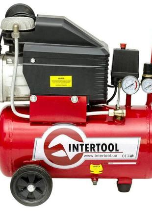 Компрессор INTERTOOL PT-0010 (24 л, 1.5кВт, 220В, 8атм, 206л/мин)