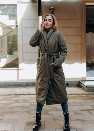 Зимнее теплое пальто на синтепоне