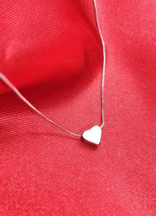 Серебряный кулон сердце с цепочкой 925 пробы родированный на п...