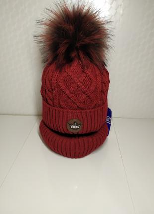 Акция теплый мегастильный комплект 52-56 шапка с помпоном и снуд