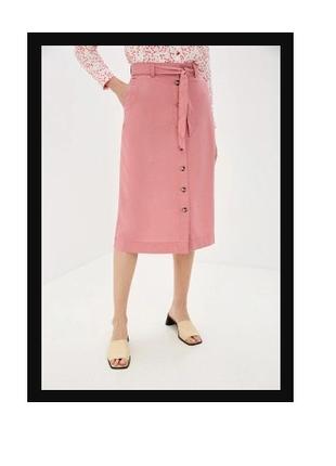 Стильная юбка-трапеция на пуговицах и с ремешком