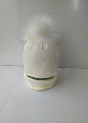 Зимний комплект шапка снуд хомут амбра для девочки 50-54 шикарный