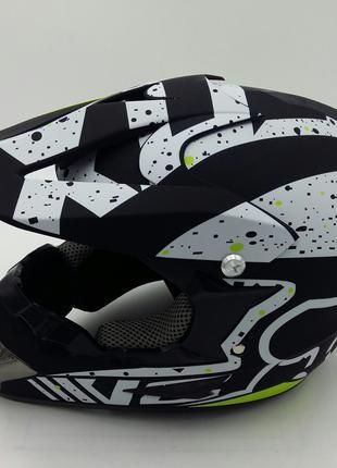 Шлем на мотоцикл кроссовый FOX , матовый черный белый зеленый