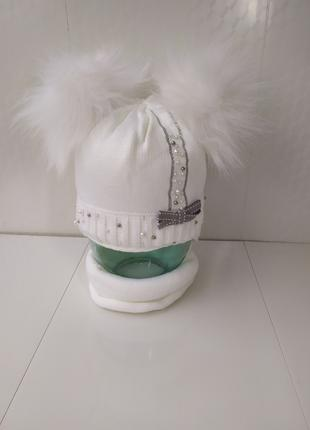 Акция теплый комплект шапка 44-46 с двумя помпонами и снуд хомут
