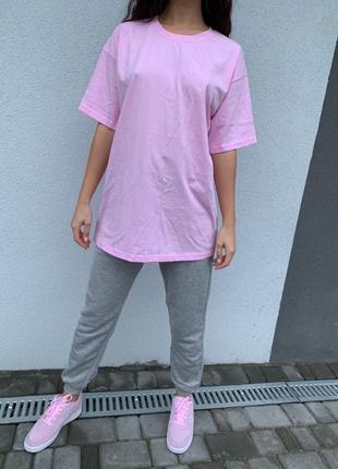 Хлопковая футболка розовая и чёрная